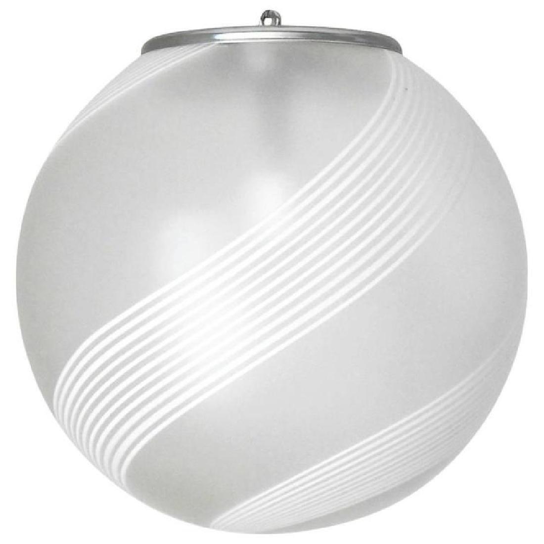 Italian Frosted Murano Glass Globe Pendant