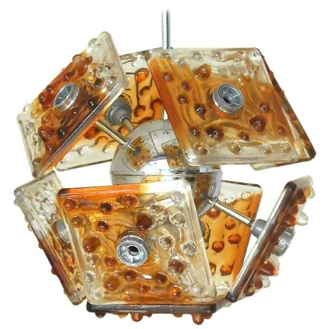 Murano Amber Tiles with Bubbles Pendant by Mazzega