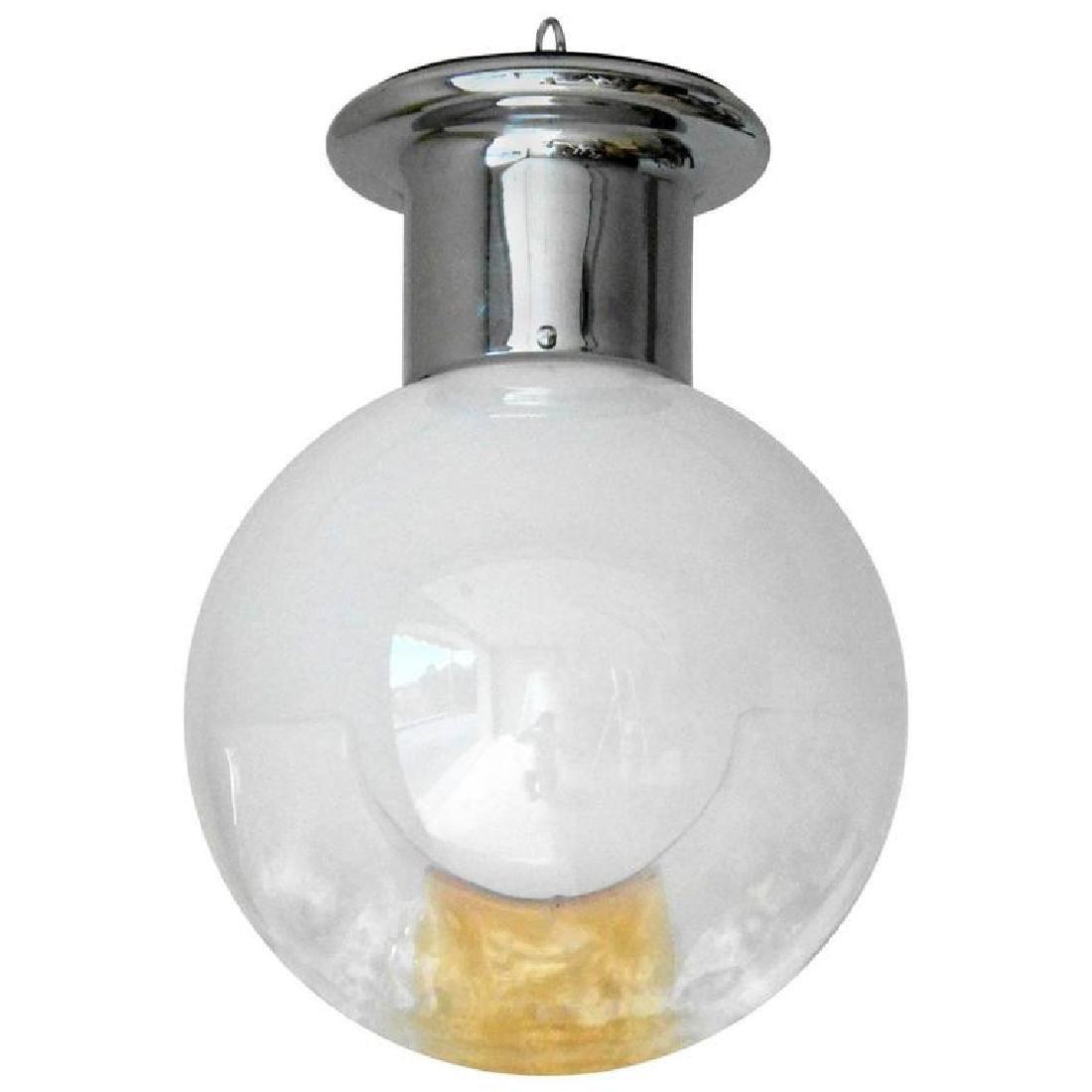 Murano Opaline and Amber Globe by Mazzega