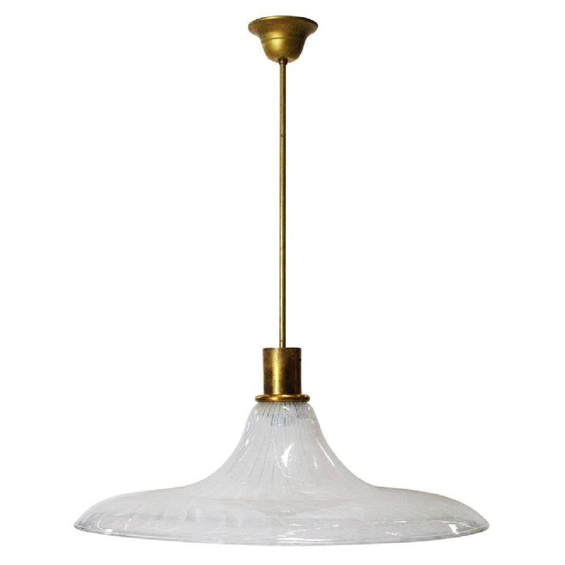 Italian Murano Glass Filigrana Pendant by Venini