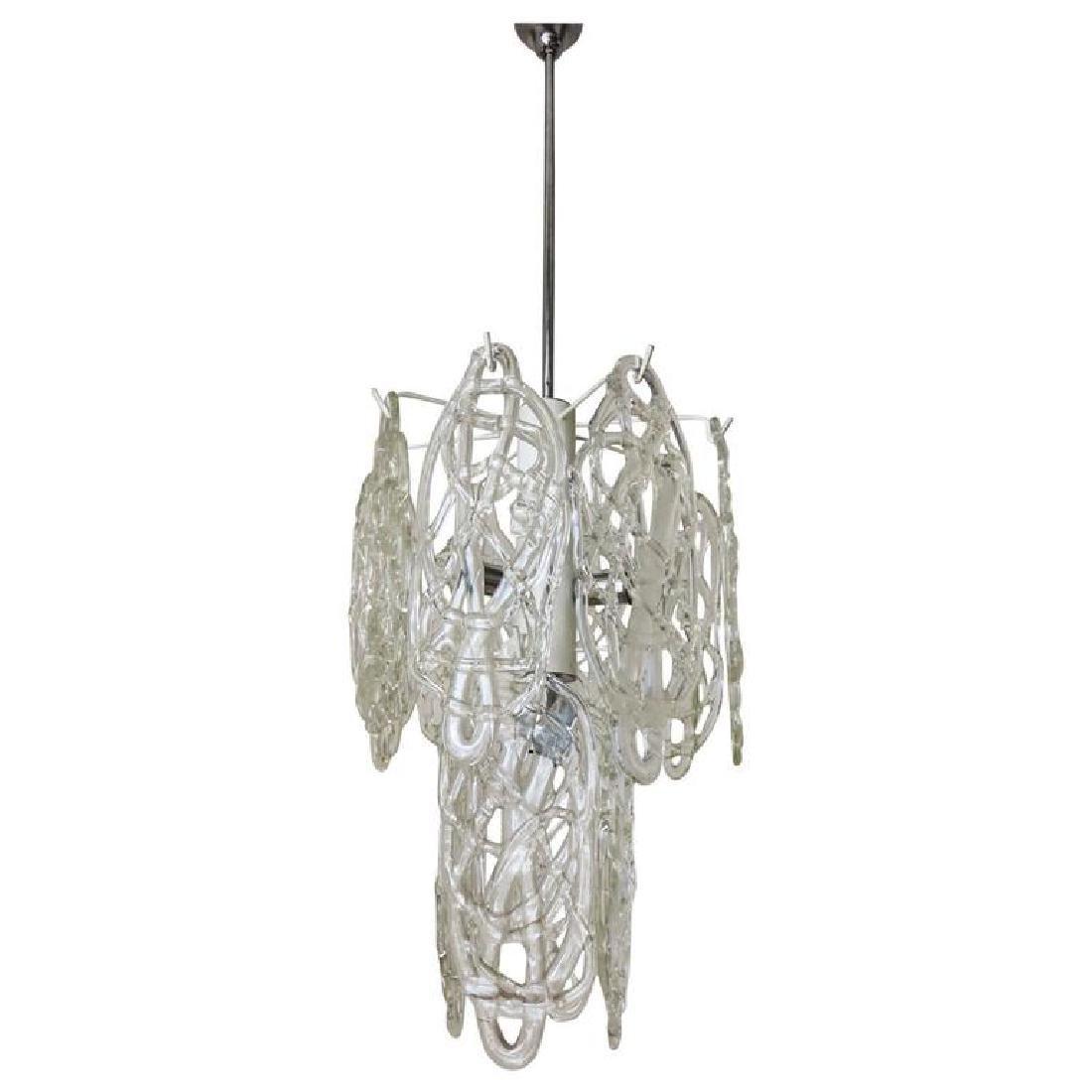 Italian Murano Cobweb Glass Pendant by Vistosi