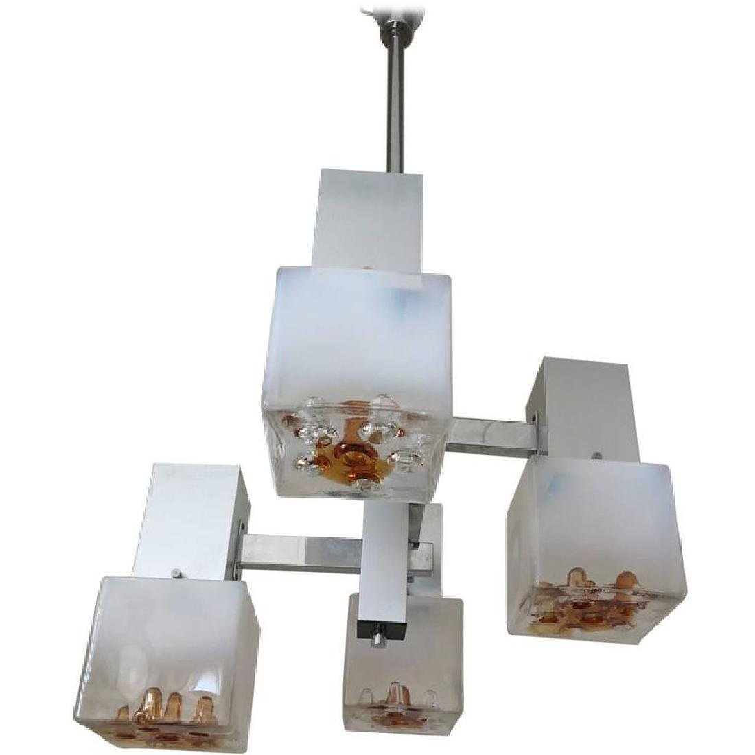White and Amber Murano Glass Cubes Pendant by Mazzega
