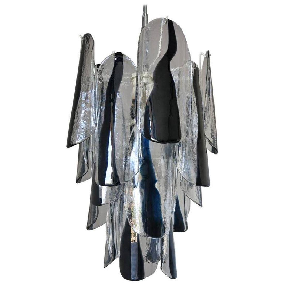 Murano Black and Clear Glass Chandelier by Mazzega