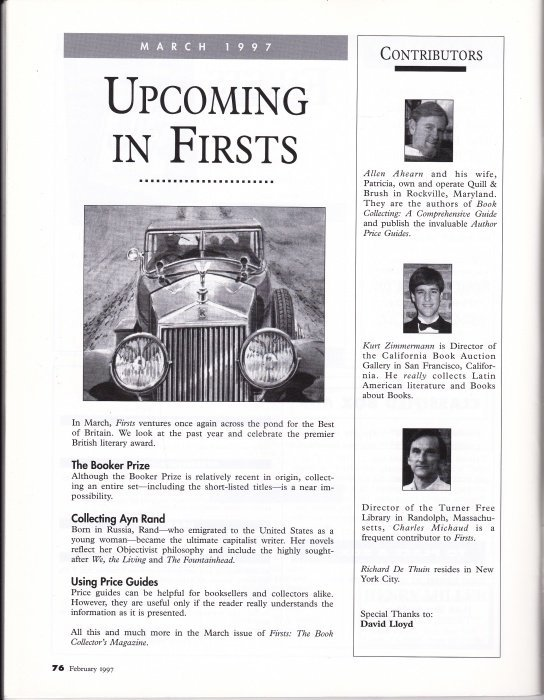 FIRSTS: The Book Collector's Magazine (Complete Run) - 5