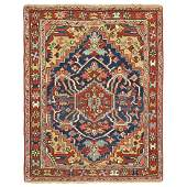 Navy Antique Persian Heriz Small Square Size Rug
