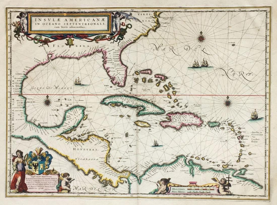 Blaeu: Splendid Gulf of Mexico/Caribbean Basin Map