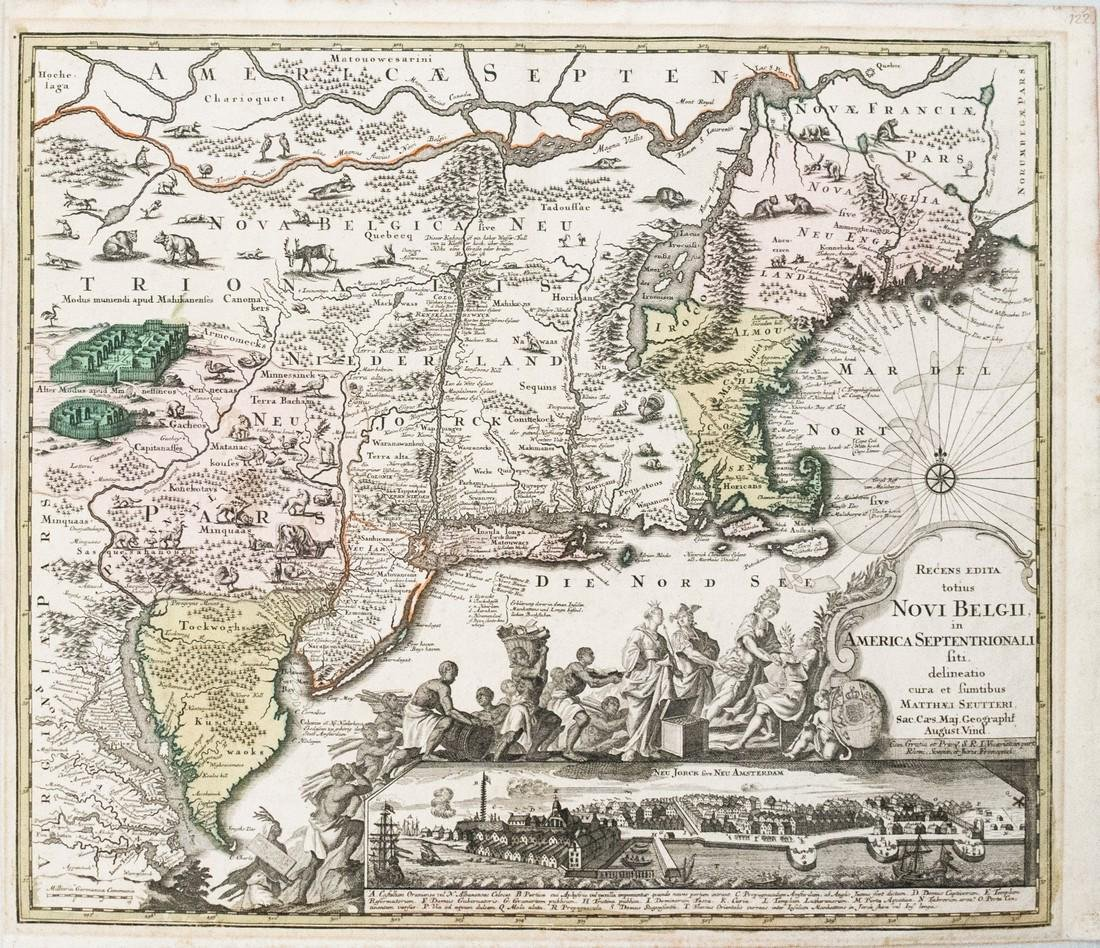 1730 Seutter Map of New England to Virginia -- Recens