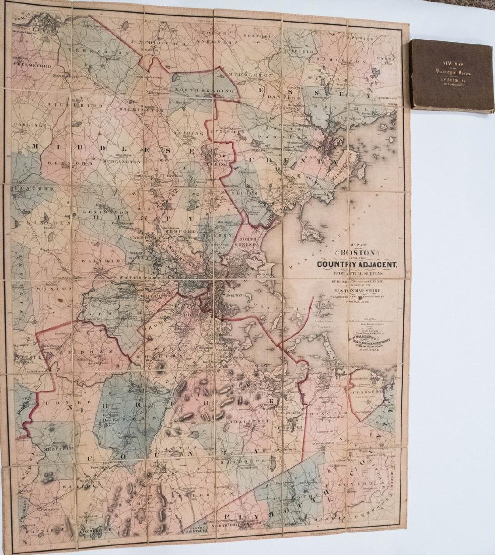 1860 Dutton / Walling Case Map of Boston -- Map of