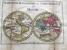 Extremely Rare world map in double Hemisphere