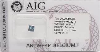 0.58CTS Certified Natural Fancy DEEP Blue Diamond As