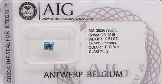 0.51CTS Certified Natural Fancy DEEP Blue Diamond As
