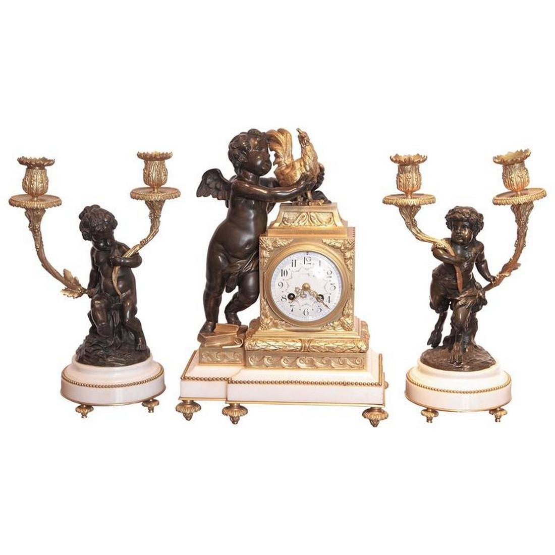 French 19th century fine clock set signed A.D Mougin .