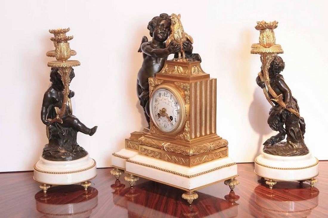 French 19th century fine clock set signed A.D Mougin . - 4