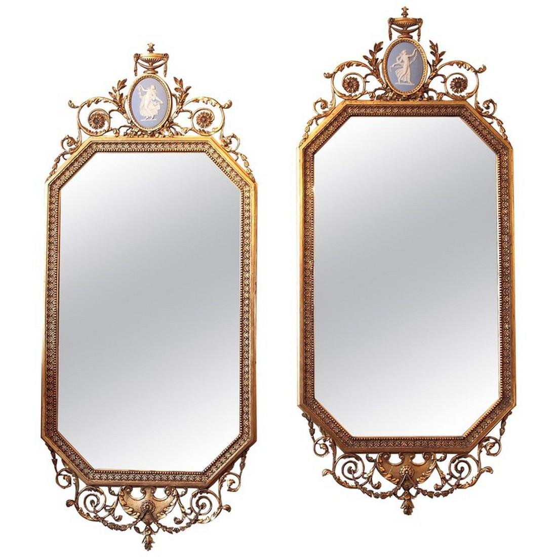 Pair of fine 19th century English gilt carved mirrors