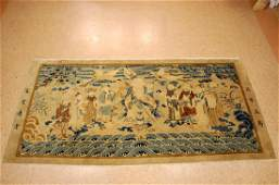 CHINESE PICTORIAL RUG of SHOULAO and NINE IMMORTALS