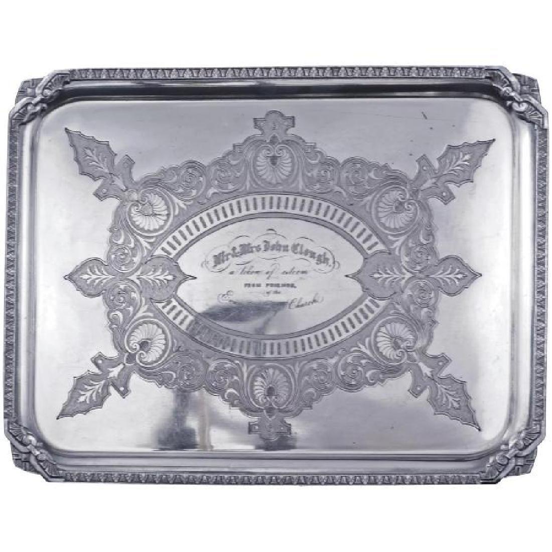 Victorian presentation silver plate tray late 19th