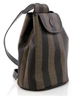 Fendi Pequin Sling Back Stripe Monogram Emblem Bag