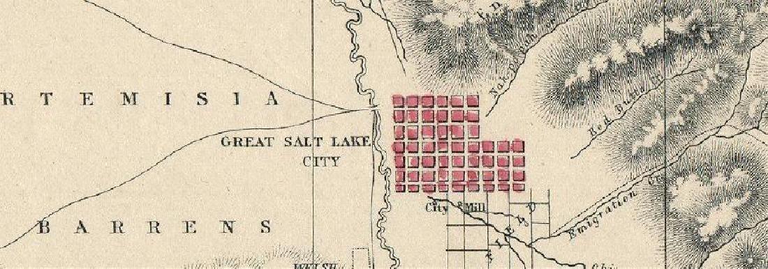 THE GREAT SALT LAKE (MORMON) CITY'. Town plan & - 2