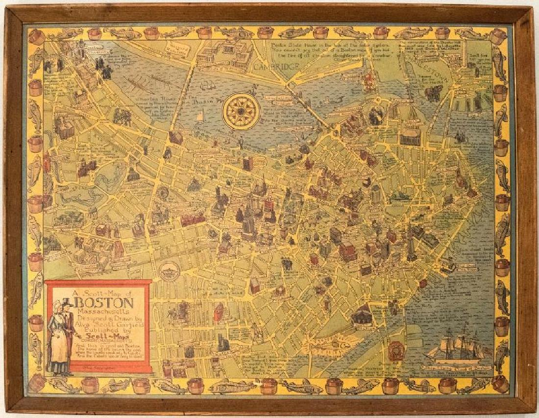 1950s Garfield Pictorial Map of Boston -- A Scott-Map