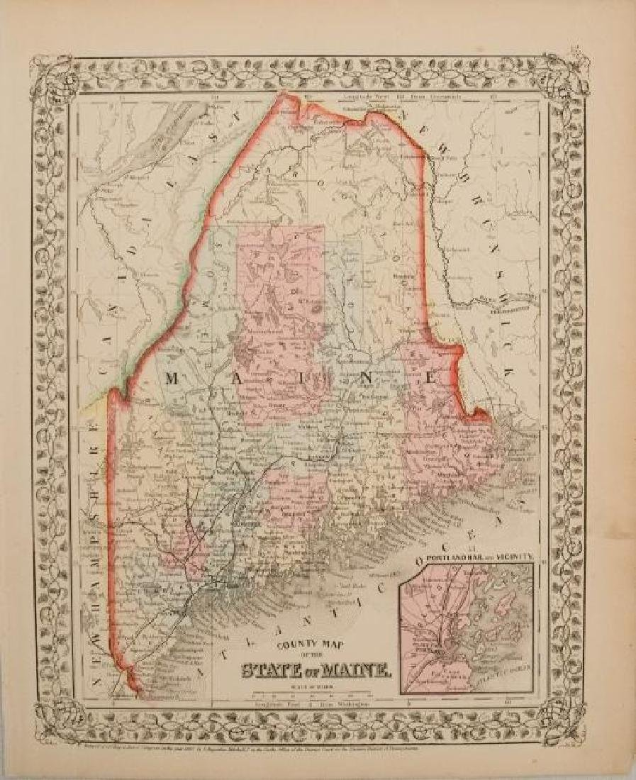 1867 Mitchell Map of Maine -- County Map of the State