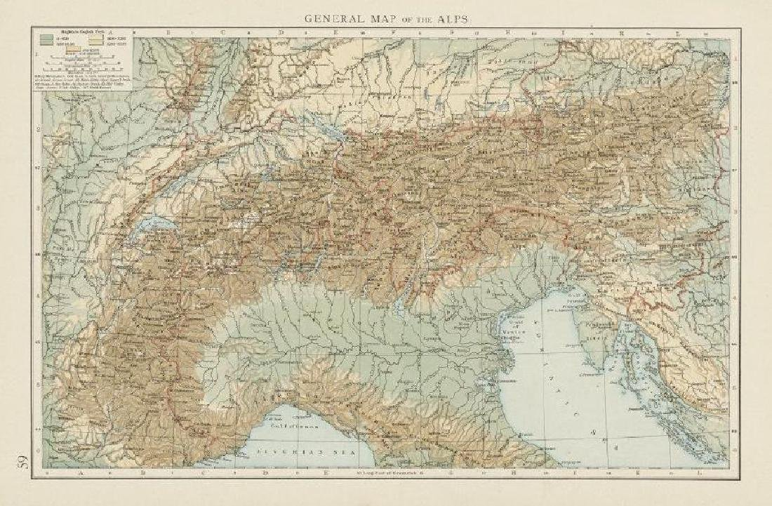 General map of the Alps, showing the alpine ranges. THE