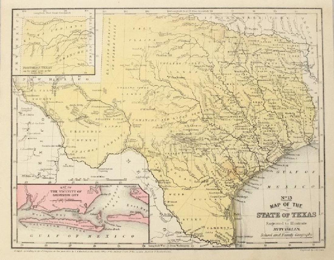 1852 Mitchell Map of Texas -- No.13 Map of the State of