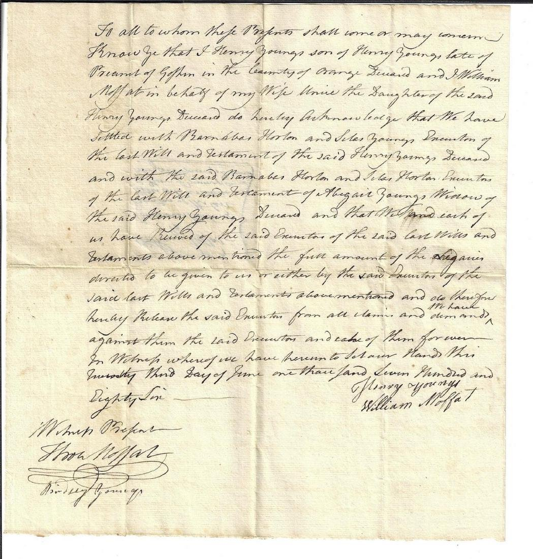 1786 New York Manuscript Document