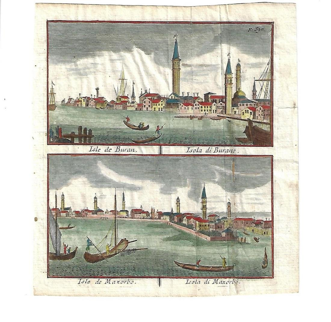 17th C Hand Colored Engraving Venice Islands