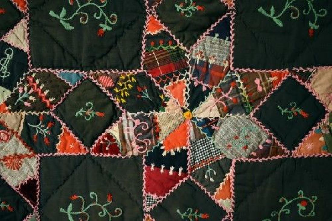 Vintage Touching Stars Antique Quilt Dated 1906 - 10