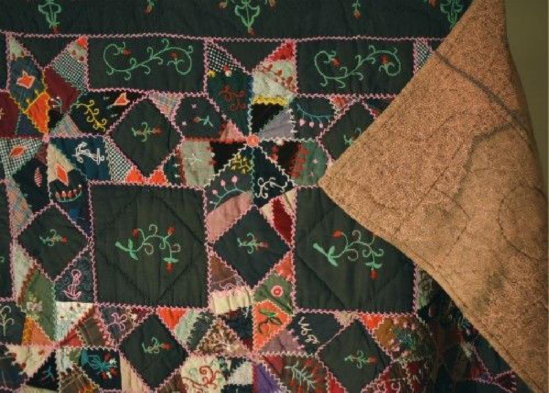Vintage Touching Stars Antique Quilt Dated 1906 - 12
