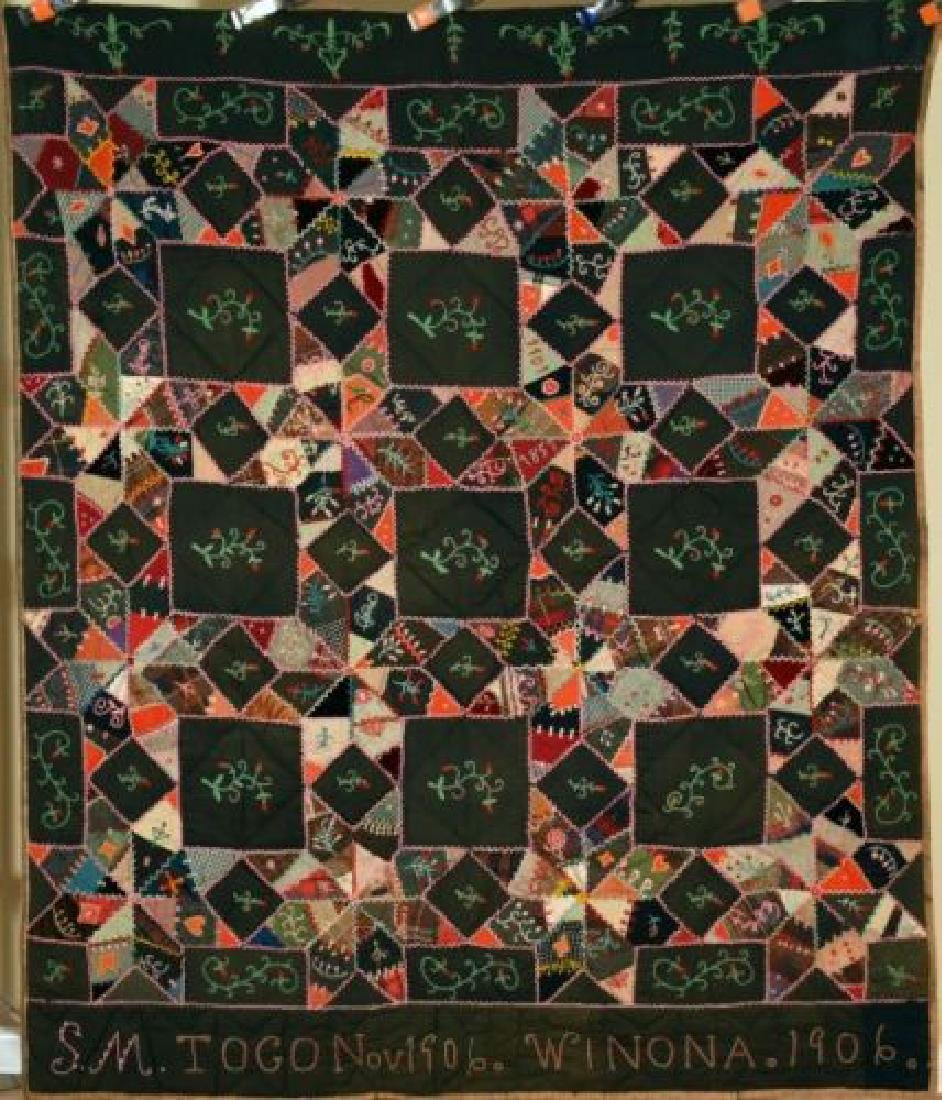 Vintage Touching Stars Antique Quilt Dated 1906