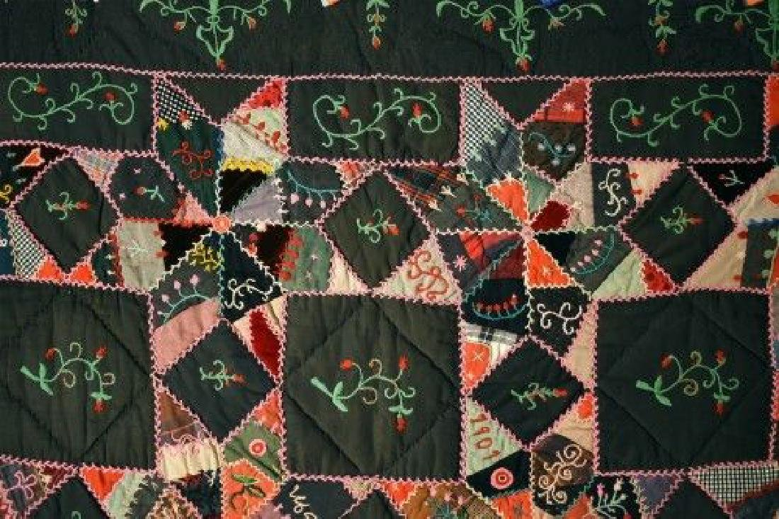 Vintage Touching Stars Antique Quilt Dated 1906 - 2
