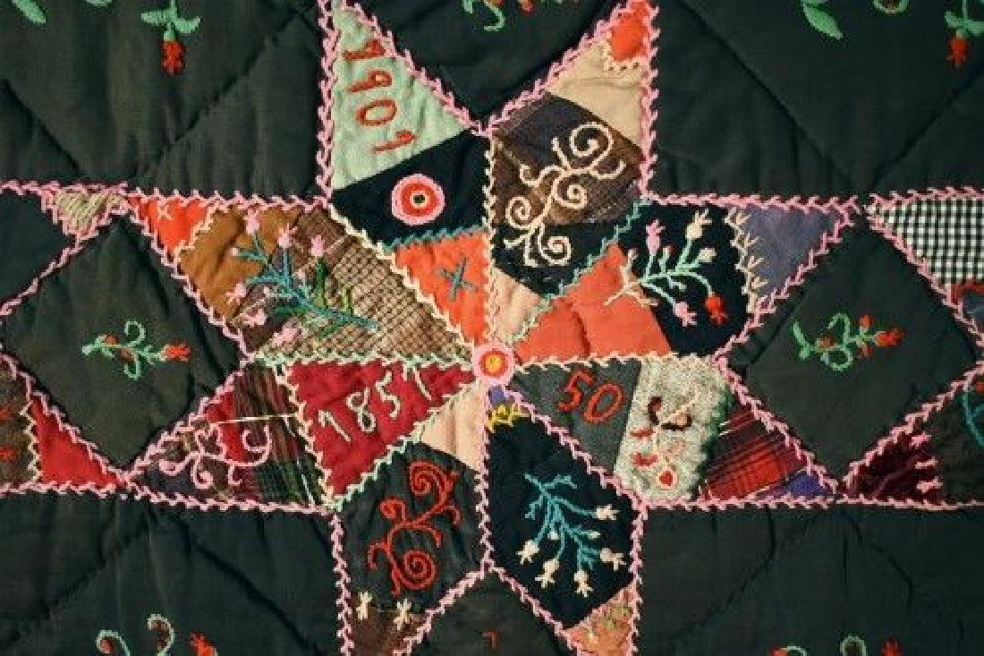 Vintage Touching Stars Antique Quilt Dated 1906 - 3