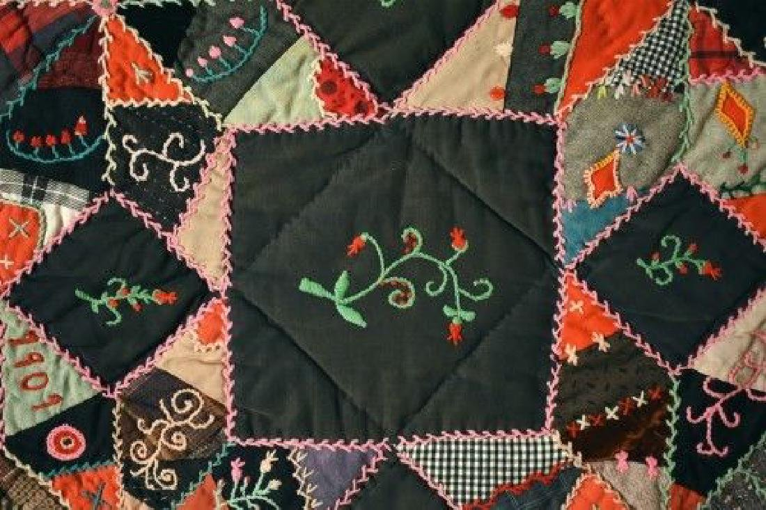 Vintage Touching Stars Antique Quilt Dated 1906 - 4
