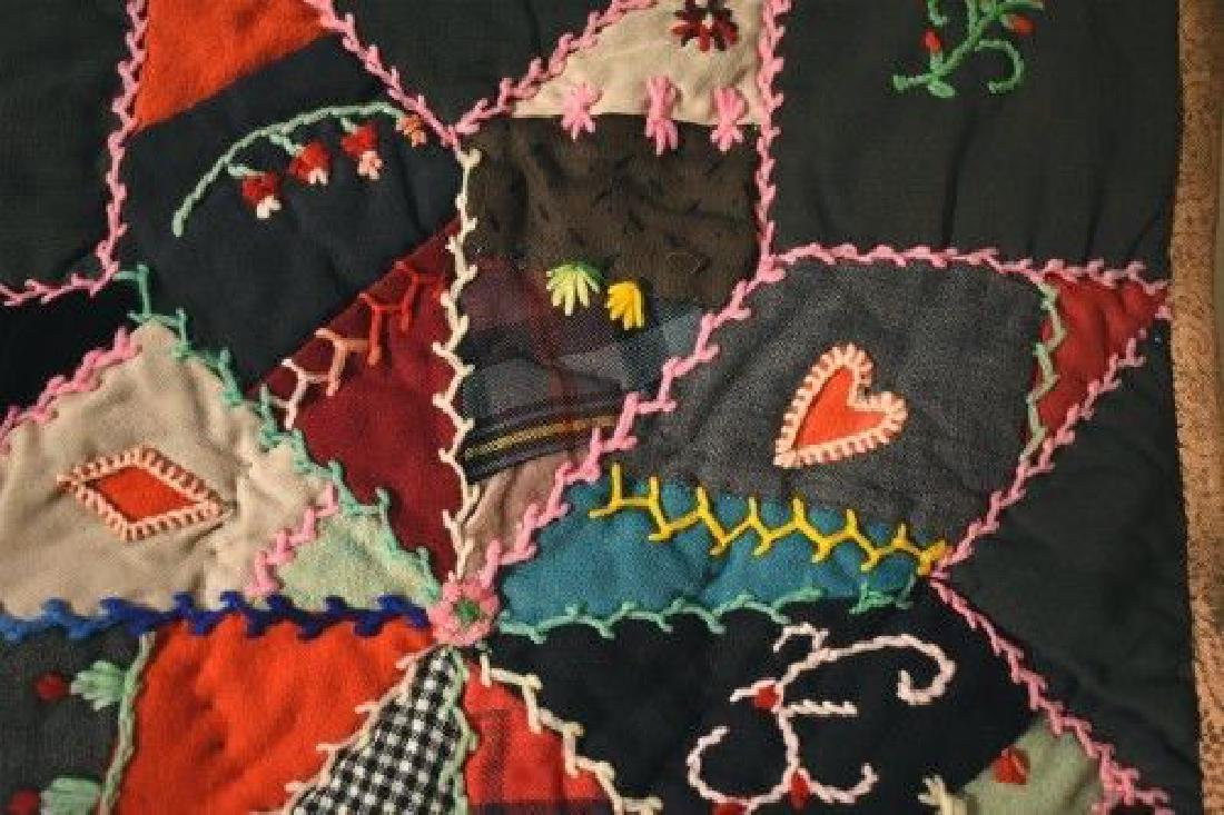 Vintage Touching Stars Antique Quilt Dated 1906 - 5