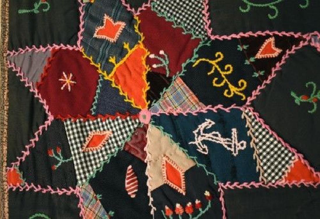 Vintage Touching Stars Antique Quilt Dated 1906 - 7