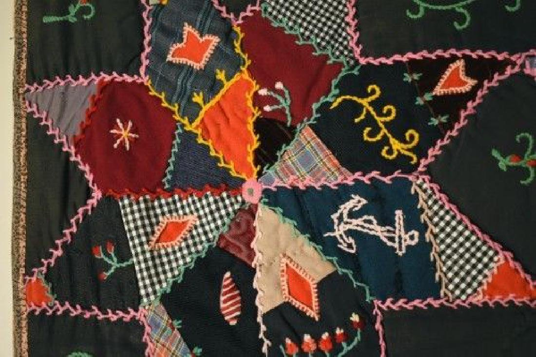 Vintage Touching Stars Antique Quilt Dated 1906 - 8