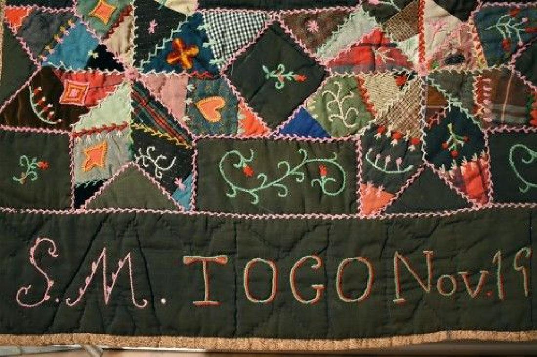 Vintage Touching Stars Antique Quilt Dated 1906 - 9