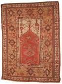 Handmade antique Turkish Melas rug 4' x 6' ( 122cm x