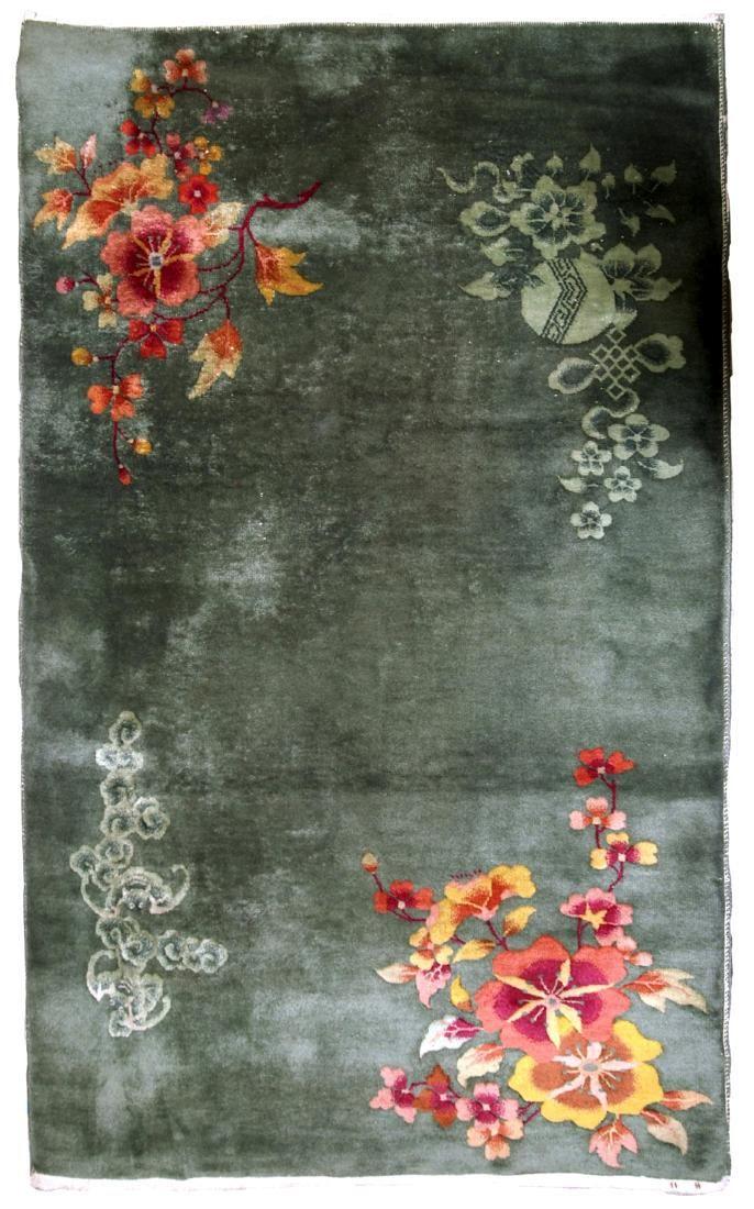 Handmade antique Art Deco Chinese rug 4' x 6.4' ( 122cm