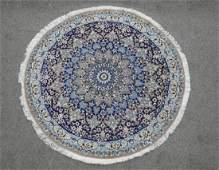 Charming Round Wool/Silk Persian Nain 3.8x3.8