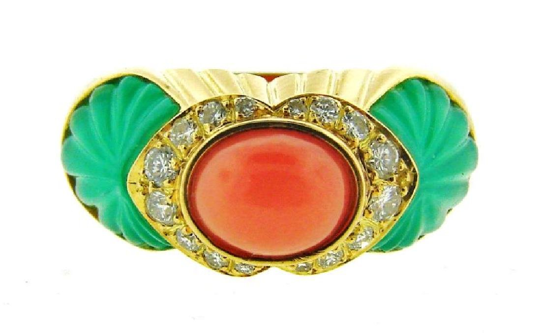 GORGEOUS Cartier 18k Yellow Gold, Carved Chrysophrase,