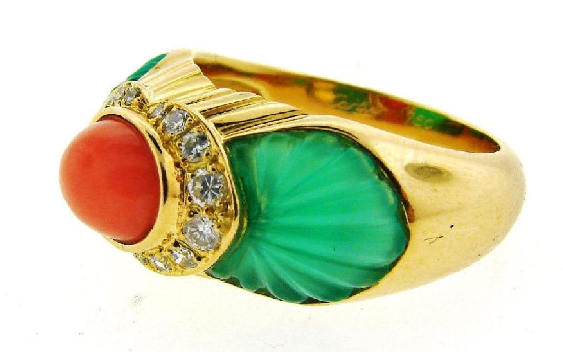 GORGEOUS Cartier 18k Yellow Gold, Carved Chrysophrase, - 2