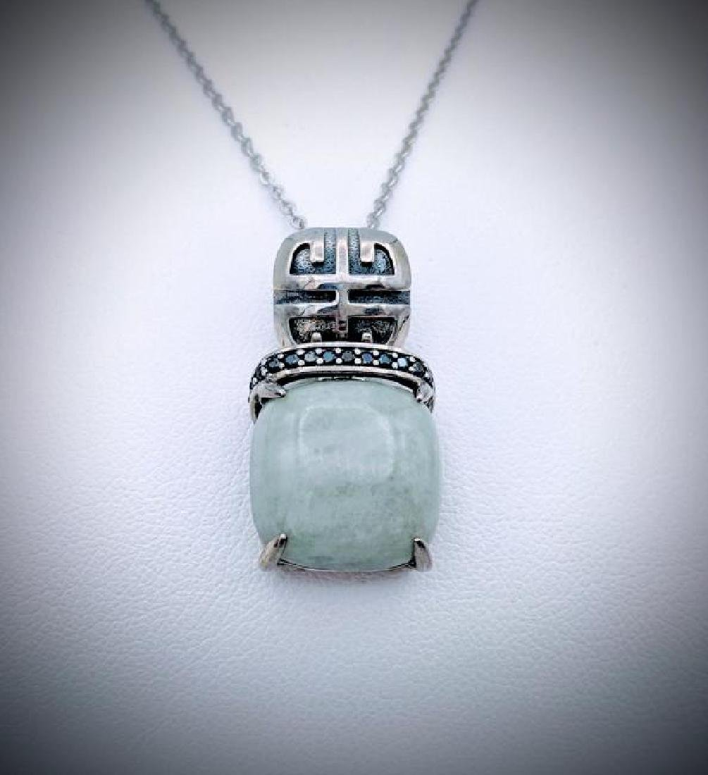 925 SS Necklace w Square Jade & Melanite Pendant