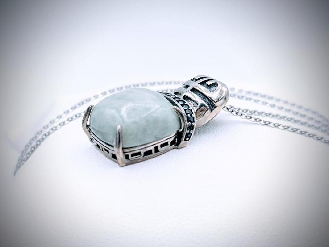 925 SS Necklace w Square Jade & Melanite Pendant - 2