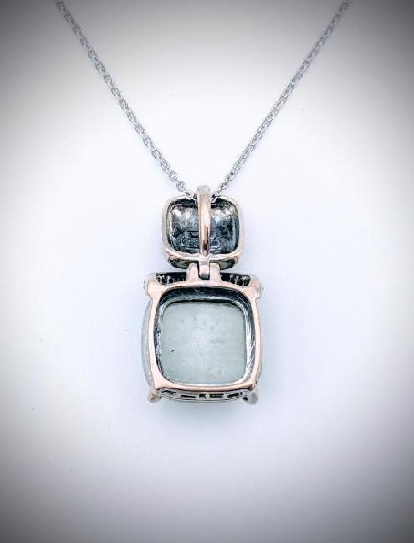 925 SS Necklace w Square Jade & Melanite Pendant - 3