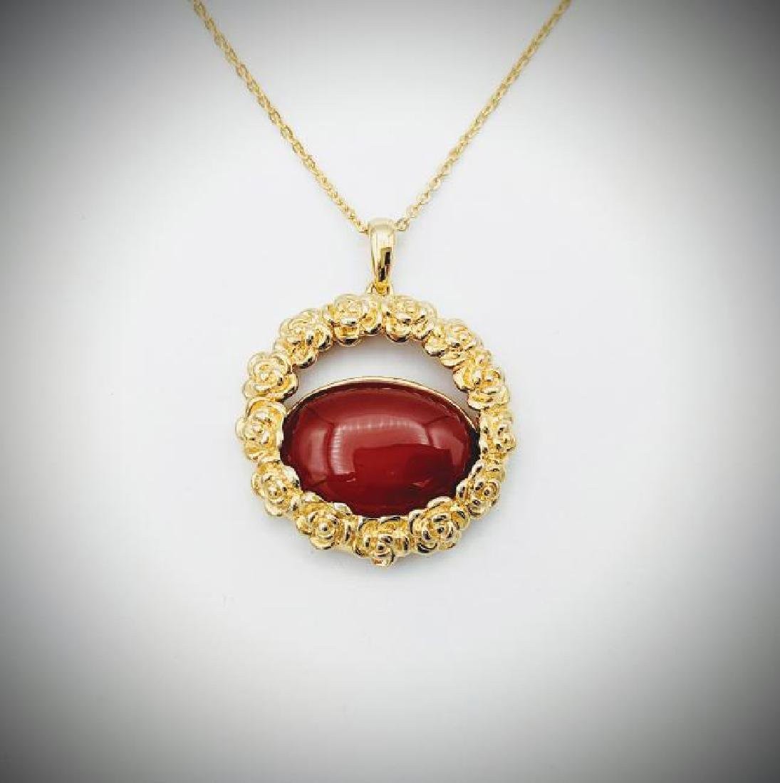 Gold Plated SS Necklace w Carnelian Pendant