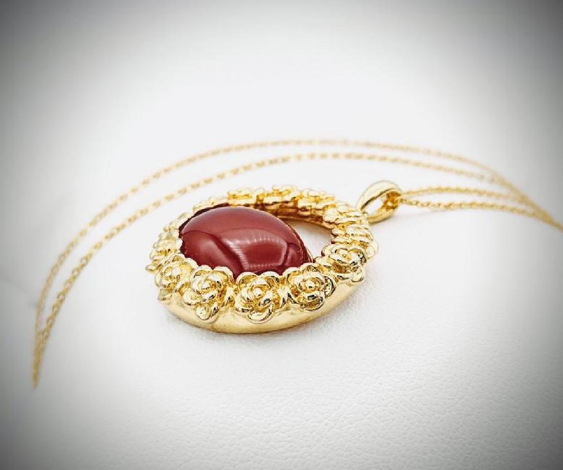 Gold Plated SS Necklace w Carnelian Pendant - 2
