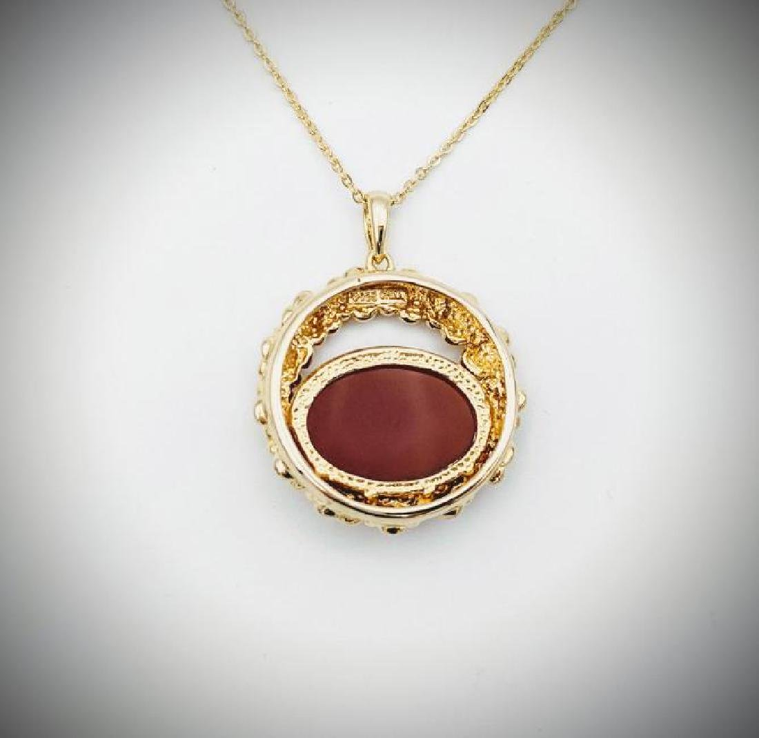 Gold Plated SS Necklace w Carnelian Pendant - 3