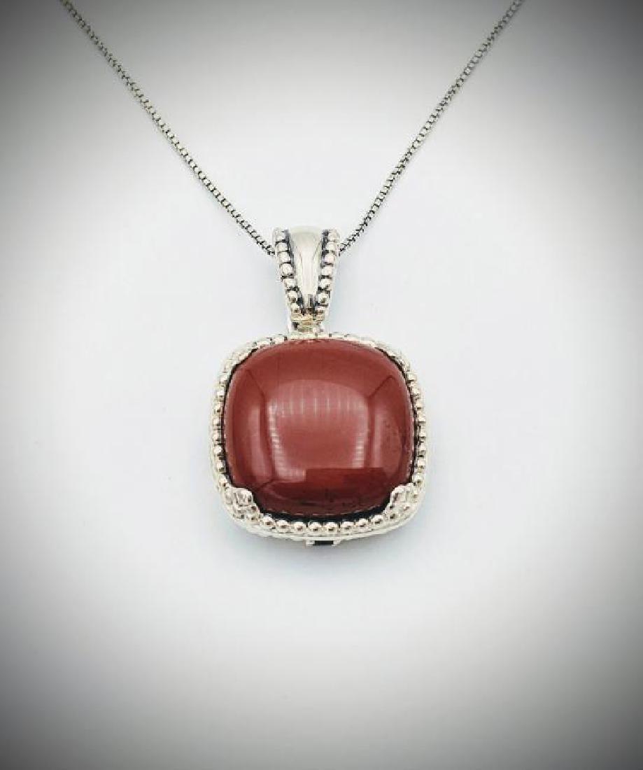 Italian Necklace & Jasper Pendant w Red Garnet